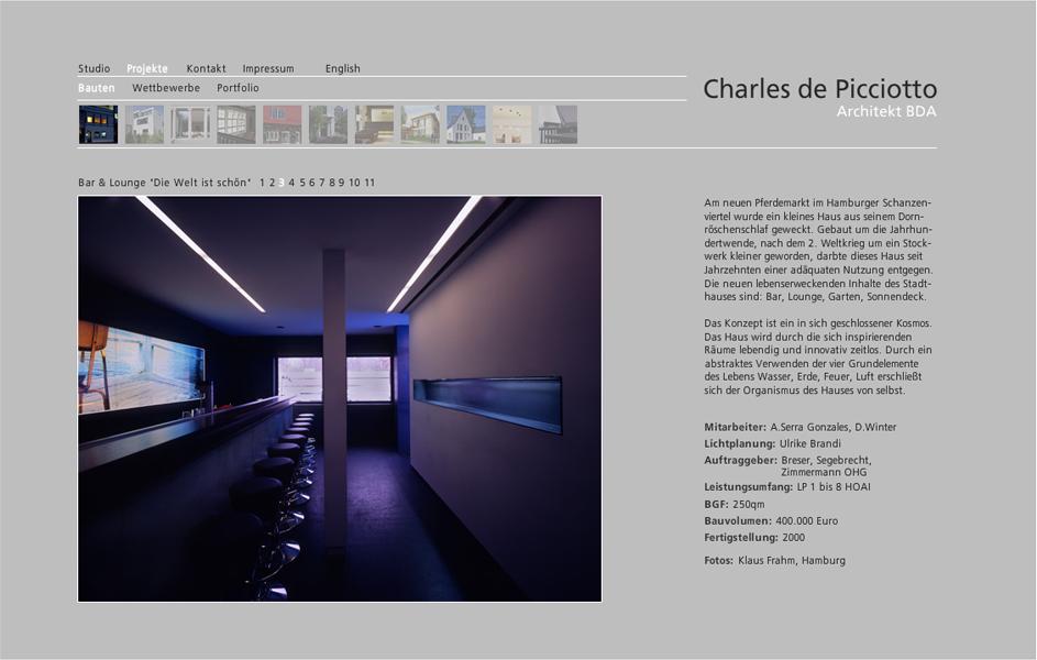 Webseite Charles de Picciotto Architekt BDA Hamburg