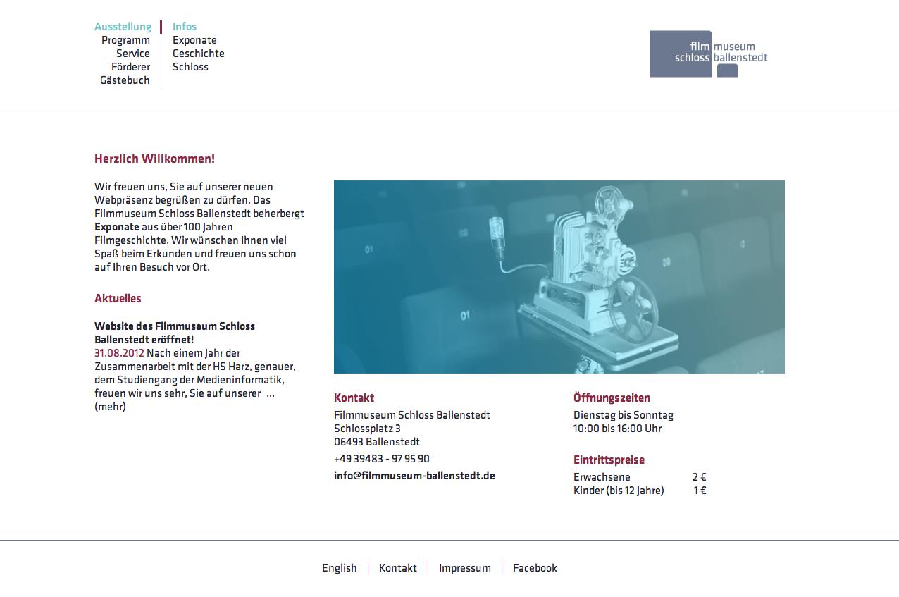 Filmmuseum Schloss Ballenstedt –Startseite / Studiengang Medieninformatik / Prof. M. Kreyßig et al.