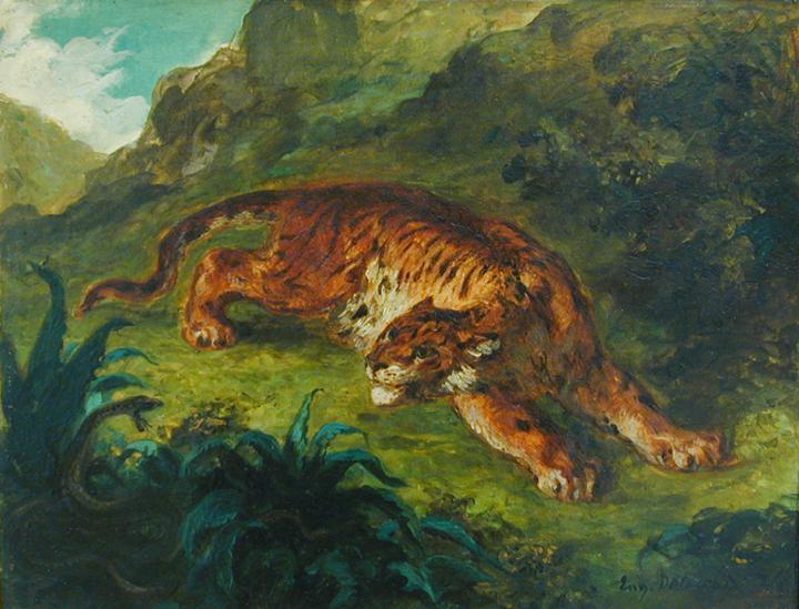 Tiger und Schlange, 1858, Eugène Delacroix, (c) Hamburger Kunsthalle