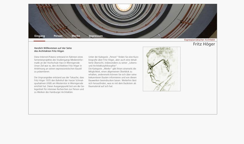 Webseite Fritz Höger, Architekt / Studiengang Medieninformatik / Prof. M. Kreyßig et al.