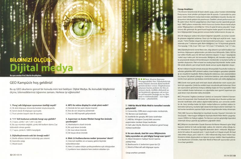Dijital medya, GEO Türkei, Heft 5, 2014, Prof. Martin Kreyßig